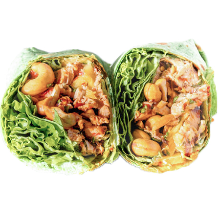 Spicy Thai Chicken Wrap (Grilled Chicken, Spicy Sauce, Cashews, Cilantro, Lettuce, Pineapple )