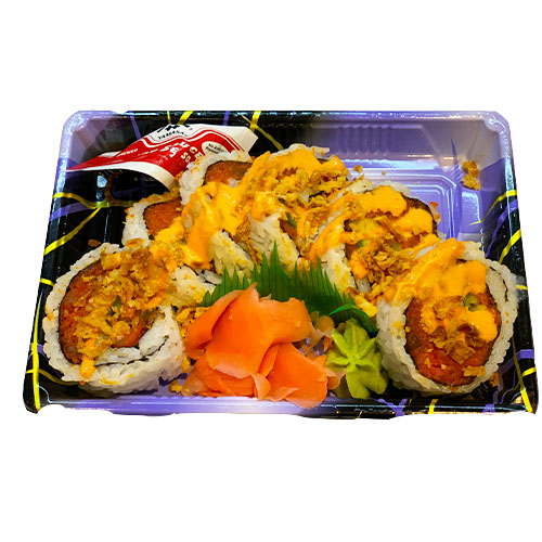 Spicy Tuna Crunch Roll (Tuna, Chili Sauce, Avocado, Onion Crunch, Rice, Vinegar)
