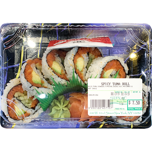 Spicy Tuna Roll (Rice, Avocado, Tuna, Seaweed, Vinegar, Sugar, Salt, Mayonnaise, Hot Sauce)