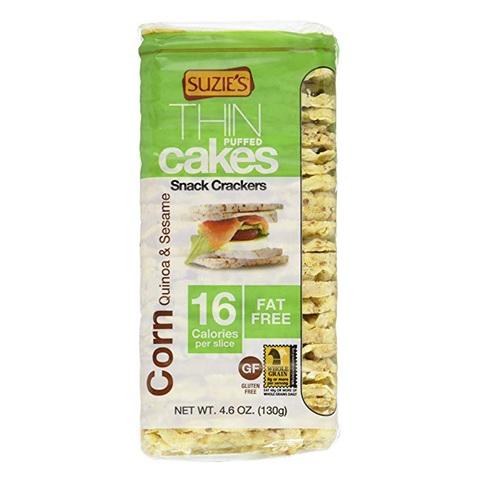 SUZIE'S ORGANIC THIN PUFFED CAKES CORN QUINOA & SESAME 4.6oz
