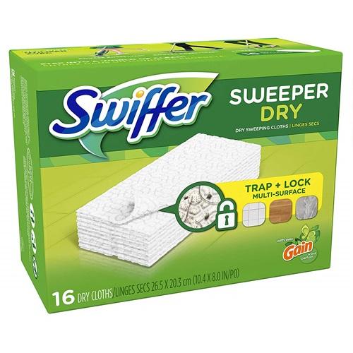 SWIFFER SWEEPER DRY TRAP + LOCK MULTI-SURFACE GAIN 16ct