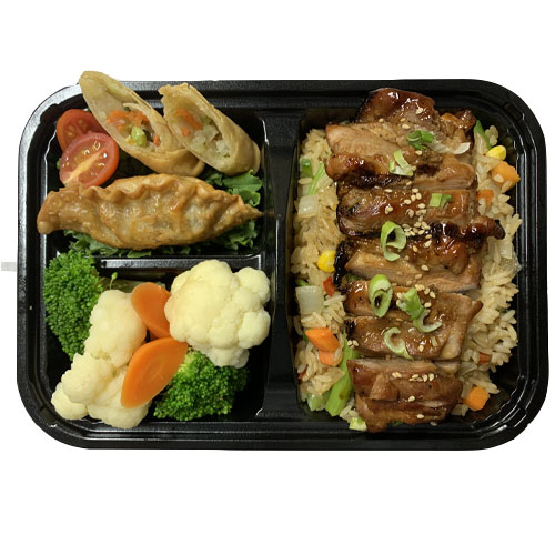 TERIYAKI CHICKEN (Veg Fried Rice, Teriyaki Chicken, Fried Veg Dumpling, Veg Spring Roll, Steamed Veg