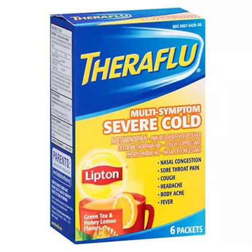 THERAFLU SEVERE COLD MULTI-SYMPTOM GREEN TEA & HONEY LEMON FLAVOR 6pks