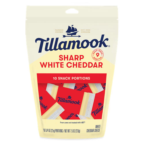 TILLAMOOK SNACK PORTIONS CHEESE SHARP WHITE CHEDDAR 7.5oz.