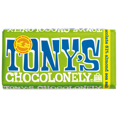 TONY'S CHOCOLONELY DARK CHOCOLATE ALMOND SEA SALT 6.35oz