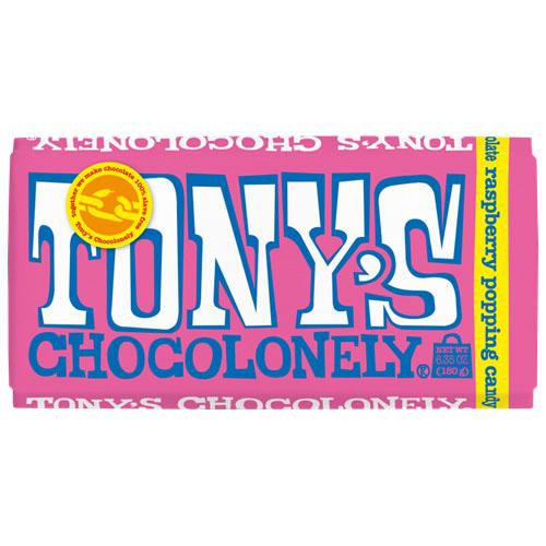 TONY'S CHOCOLONELY WHITE CHOCOLATE RASPBERRY POPPING 6.35oz