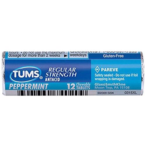 TUMS REGULAR STRENGTH PEPPERMINT 12ct