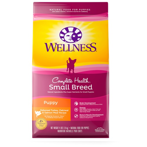 WELLNESS COMPLETE HEALTH SMALL BREAD PUPPY DEBONED TURKEY OATMEAL & SALMON RECIPE 4lb