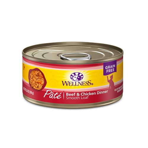 WELLNESS GRAIN FREE CAT FOOD PATE CHICKEN & BEEF DINNER 5.5oz