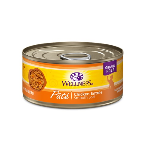 WELLNESS GRAIN FREE CAT FOOD PATE CHICKEN ENTREE 5.5oz