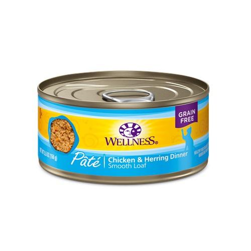 WELLNESS GRAIN FREE CAT FOOD PATE CHICKEN & HERRING DINNER 5.5oz