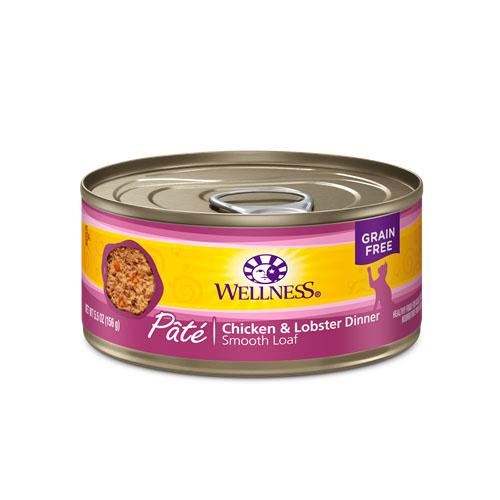 WELLNESS GRAIN FREE CAT FOOD PATE CHICKEN & LOBSTER DINNER 5.5oz.