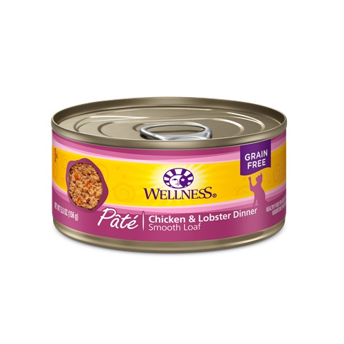 WELLNESS GRAIN FREE CAT FOOD PATE CHICKEN & LOBSTER DINNER 5.5oz