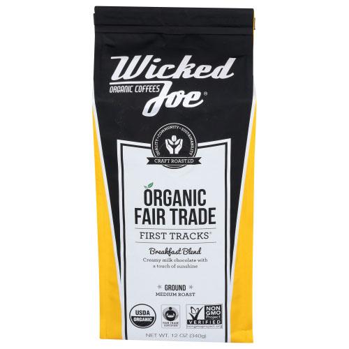 WICKED JOE ORGANIC COFFEES FIRST TRACKS BREAKFAST BLEND GROUND MEDIUM ROAST 12oz