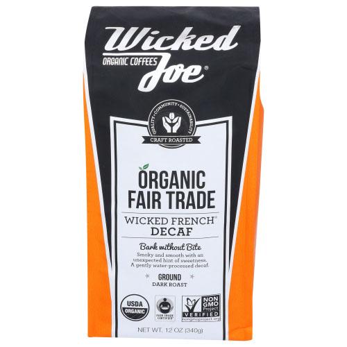 WICKED JOE ORGANIC COFFEES WICKED FRENCH DECAF GROUND DARK ROAST 12oz