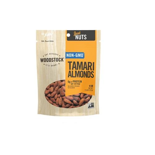 WOODSTOCK NUTS NON-GMO ALMONDS TAMARI 7.5oz