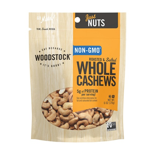 WOODSTOCK NUTS NON-GMO WHOLE CASHEWS ROASTED & SALTED 6oz